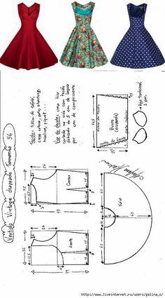 Risultati immagini per printable costura vintage Sewing Dress, Dress Sewing Patterns, Diy Dress, Doll Clothes Patterns, Sewing Clothes, Clothing Patterns, Party Dress, Dress Ideas, Dress Hire