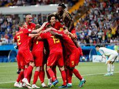 Belgium defeated  Japan 3-2 on 02/07/2018. Belgium's Nacer Chadli celebrates scoring their third goal with teammates. (Reuters Photo)