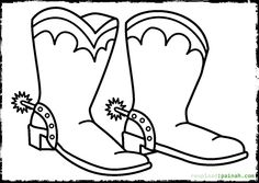 coloring page cowboy boots spurs ginormasource kids work