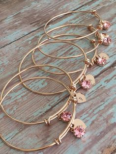 Rose gold bracelet / Swarovski crystal / Bridesmaid gift / Rose Gold Jewelry / Custom Initial Charm / October birthstone / Bride bracelet christmas gift, gifts for him, gifts for her, christmas gifts | christmas gifts ideas | christmas gifts for boyfriend | christmas gifts for mom | Christmas Gifts | Christmas Gifts 2017 Deals | Christmas Gifts |Christmas Gift Ideas | #ad