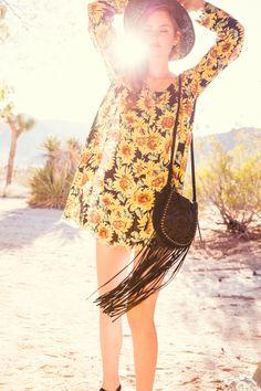 Sunflower dress & fringe bag.