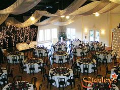 Don't know if it's possible, but love the idea of material canopy to add intimacy to a room. Sugar Bush, Wedding Reception Venues, Canopy, Backdrops, Photo Galleries, Chandelier, Ceiling Lights, Wedding Ideas, Ottawa