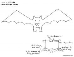 paper crafts templates made by joel paper bat puppet halloween kids craft - Kids Craft Templates