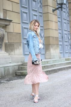 Franziska Elea - H&M Denim Jacket, Mango Dress, Mime Et Moi Heels, Furla Bag - Maxi Dress & Denim Jacket | LOOKBOOK
