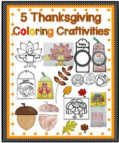 If you are looking for a fun card craftivity for your students to make and present for Thanksgiving, this set will be perfect for your class.  Enclosed you will find five different coloring activities that your students will have fun making. #tpt#thanksgiving#fall#teacherspayteachers
