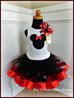 Minnie Mouse Satin Ribbon Edged Tutu Skirt and Onesie Tshirt Set - You Pick the Color Great for Disney Vacation. $72.00, via Etsy.