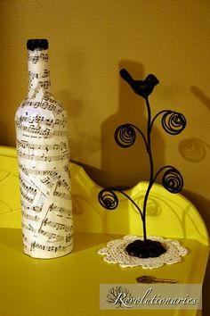 Sheet Music Bottle and Bird wire photo holder: Perfect for display of Engagement Pics at Wedding