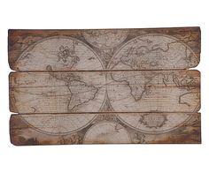 Wanddecoratie Monde, bruin, B 120 cm