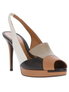 FENDI Colour Block Peep Toe Pump