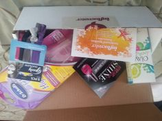 Influenster Sunkissed VoxBox #SunVoxBox  Featuring:  Olay BB Cream  Goodys Ribbon Hair Ties  Dr. Scholl's High Heel Inserts  Sinful Nail Polish