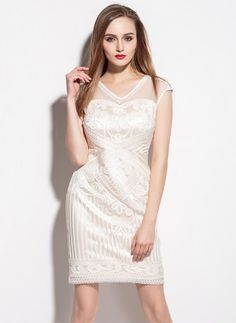 2b1b16763 Shop White Sheath Sleeveless Polyester V Neck Mini Dress Online. The  world s most-coveted and unique designer apparel - Sexyplus everyday.
