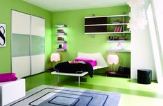 cuarto verde lima para un joven