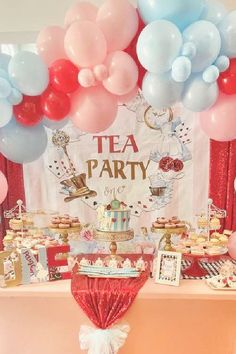 Take a look at this wonderful tea party! Love the dessert table! See more party ideas and share yours at CatchMyParty.com