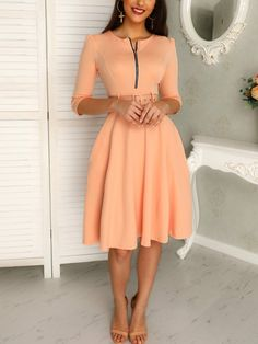 Shop Solid Zipper Up Belted Pleated Casual Dress right now, get great deals at joyshoetique Homecoming Dresses Sleeves, Tight Prom Dresses, Beautiful Prom Dresses, Dresses For Work, Dresses With Sleeves, Maxi Dresses, Ladies Dresses, Simple Dresses, Pretty Dresses