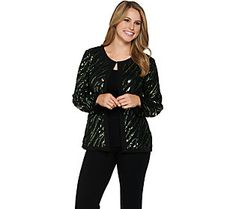 Bob Mackie's Long Sleeve Jewel Neckline Sequin Jacket
