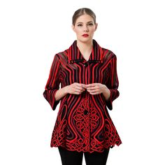 "Damee NYC Jacket - ""Celtic Dream"" in Red and Black - 2067"
