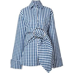 Marques'almeida oversized belted check shirt ($1,090) ❤ liked on Polyvore featuring tops, blue checkered shirt, check pattern shirt, print shirts, blue shirt and shirt tops
