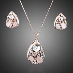 Water Drop Pear Cut Stellux Austrian Crystals Necklace and Earrings Set  #rings #necklace #earrings #fashion #dresses #womensfashion #khaista #women #jewelry