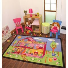 Doll House Childrens Rug. The perfect mat for any little girls play room or bedroom.
