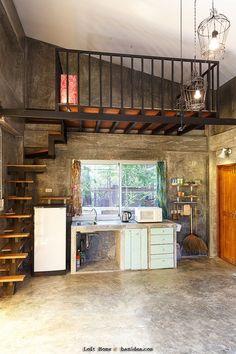 Tiny House Loft, Tiny House Living, Tiny House Design, Rv Living, Loft Apartment Decorating, Apartment Design, Rustic Stairs, Tiny Houses For Sale, Loft Design