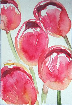 Watercolor painting . Pink Tulips in watercolor. Art original only. Flowers on watercolor