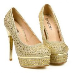 $18.22 Party Women's Pumps With Rhinestones and Sexy Gold High Heels Design