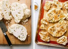 Healthy roasted cauliflower steaks with a flavorful cajun seasoning makes a delicious lunch or dinner when paired with a grain of choice and simple veggies on the side. Roasted Cauliflower Steaks, Vegan Cauliflower, Cauliflower Recipes, Plant Based Recipes, Vegetable Recipes, Vegetarian Recipes, Cooking Recipes, Blackened Seasoning, Oven Roast