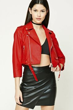 Forever 21 is the authority on fashion & the go-to retailer for the latest trends, styles & the hottest deals. Black Leather Skirts, Red Leather, College Fashion, College Style, Fashion Books, Faux Leather Jackets, Clothes For Women, Women's Clothes, Moto Jacket