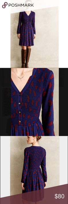 "Anthro maeve ""banet"" dress Adorable dress • blue with maroon hearts • long sleeve • size X SMALL P • approximate measurements made flat and not stretched • Bust 17"" • waist 13 1/2"" • length 33 1/2"" • sleeves 20 1/2"" Anthropologie Dresses"