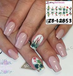 Cactus Flowers Water Slide Nail Decals Please contact us if you are unsure about the sizing options, we will NOT exchange if you purchase the incorrect size. Nail Decals, Cactus, Nail Art, Nails, Flowers, Prickly Pear Cactus, Ongles, Finger Nails, Floral