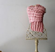 Pink knit scarf handknitted extralong scarf knitted by cosediisa