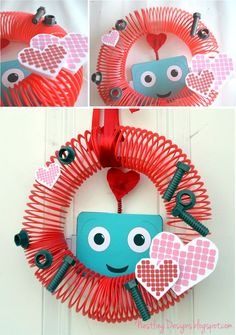 DIY Robot Wreath. HOW cute would this be for the door for the birthday?!