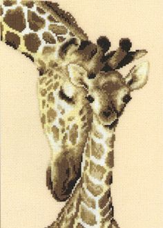 Giraffe Family da Vervaco - Seppia Collection - Kit Ricamo - Casa Cenina