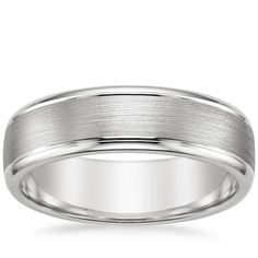 18K White Gold Beveled Edge Matte Wedding Ring with Grooves from Brilliant Earth