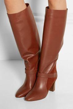 Chloé   Suede-paneled leather knee boots   NET-A-PORTER.COM