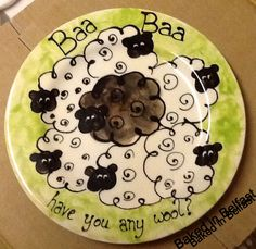 Baa Baa Black Sheep Hand Painted Pottery Plate