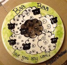 Baa Baa Black Sheep Hand Painted Pottery Plate