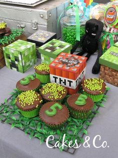 Cupcakes and TNT box from TNT Minecraft Birthday Party at Kara's Party Ideas. See it all at karaspartyideas.com!