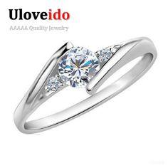 Oro blanco Plateado Joyería de La Boda Anillos para Las Mujeres de Compromiso Cristalino de Plata Circón CZ Diamantes Anillo de Oro Rosa Anillos Ulove J045