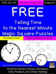 FREE Telling Time to the Nearest Minute {Six Different Printable Puzzles}  Let your students practice telling time to the nearest minute with this FREEBIE. You get six free pages when you download. Click here or on the picture below to get your FREE download directly from Teachers Pay Teachers!  Thanks for looking!  Heather aka HoJo  2nd grade 3rd grade 4th grade fourth grade HoJo Magic Squares math second grade telling time telling time game telling time puzzles third grade