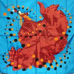 """Foulard carré de soie """"Hola flamenca"""" coloris turquoise et rouge,par Dimitri Rybalchenko première édition de 2005"""