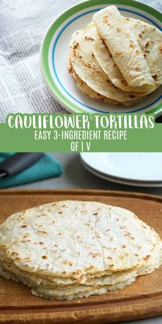Cauliflower Tortillas (Gluten-Free, Vegan & Paleo) This cauliflower tortilla is soft and flexible and is made without grains, eggs or dairy. Vegan Gluten Free, Gluten Free Recipes, Low Carb Recipes, Diet Recipes, Vegetarian Recipes, Cooking Recipes, Healthy Recipes, Gluten Free Roux Recipe, Gluten Free Wraps