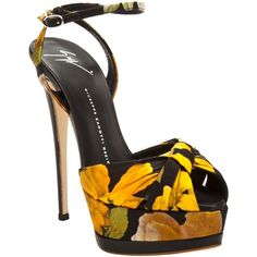 Giuseppe Zanotti Design Floral shoe (5.968.500 VND) ❤ liked on Polyvore featuring shoes, sandals, heels, scarpe, ankle strap platform sandals, heels stilettos, black ankle strap sandals, floral sandals and high heel stilettos