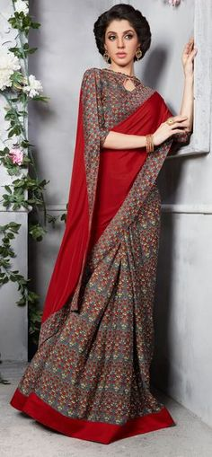 Buy Red - Grey Silk Crape Printed Half - Half Saree at Rs. 1499- Get latest Silk Woven Saree for womens at Ethnic Factory. Genuine Products, Easy Returns, Best Pricing #Ethnicfactory #Fairprice #Saree #Indianwear #ethnicwear #India #Womenswear #halfhalfsaree
