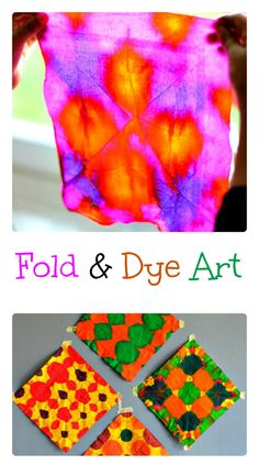 Fold and Dye Art for Kids. Make for a beautiful kid-made wall ar