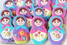 Matryoshka/Russian Nesting Doll Decorated Cookies, Birthday Cookies, Girls Birthday Cookies, Russian Nesting Doll Party, Matryoshka Birthday by Bakinginheels on Etsy https://www.etsy.com/listing/200568128/matryoshkarussian-nesting-doll-decorated
