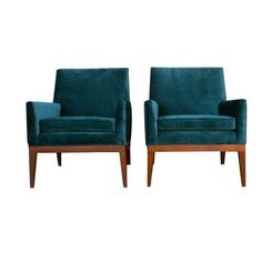 Image of Mid-Century Teal Velvet Chairs - A Pair