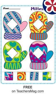 Mittens Matching: To do this worksheet, students cut and paste the correct pattern in the mittens pictured. Preschool Learning Activities, Preschool Classroom, Preschool Worksheets, Winter Activities, Infant Activities, Preschool Activities, Color Activities, Snow Theme, Learning Shapes