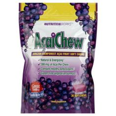 Nutrition Works Amazon Rainforest Acai Chews, 30-Count Bags by Nutrition Works. Save 8 Off!. $9.19. Nutritionworks AcaiChew gives you the energizing benefits of Acai fruit in one delicious soft chew. The Acai fruit grows on top of lush palm trees in the heart of the Amazon rainforest. Acai is considered to be part of the superfruit category because it contains polyphenols and anthocyanins, two of nature's most powerful antioxidant.