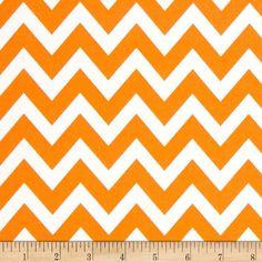 Tangerine Remix Medium Chevron - Orange & White Zig Zag Stripe
